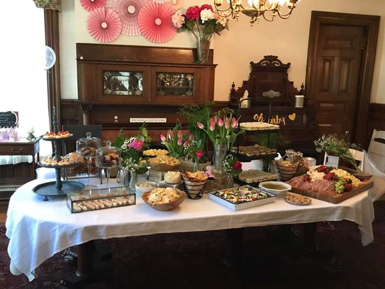 table with platters of food