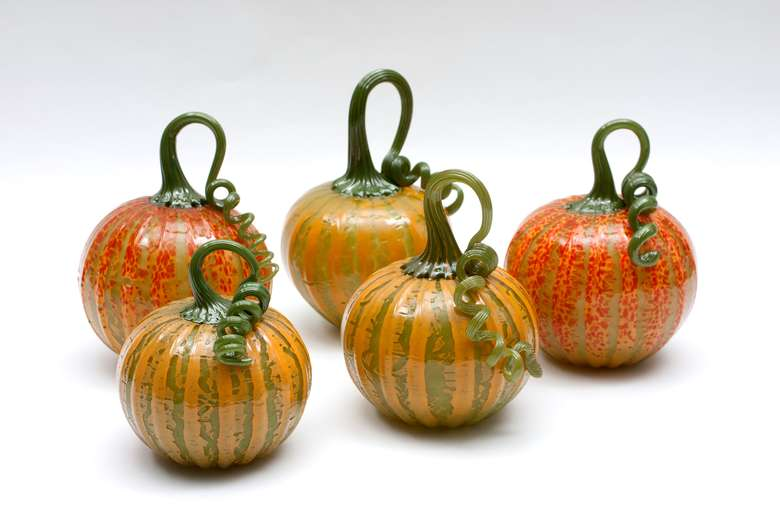 five mini pumpkins