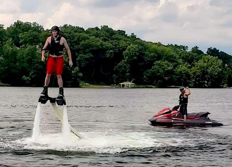 man on jets and man using hydro flight
