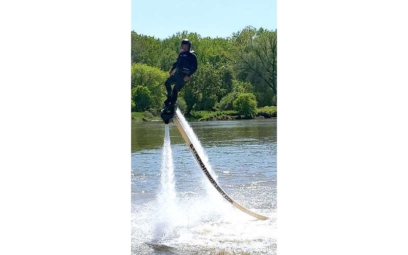 person in hydroflight