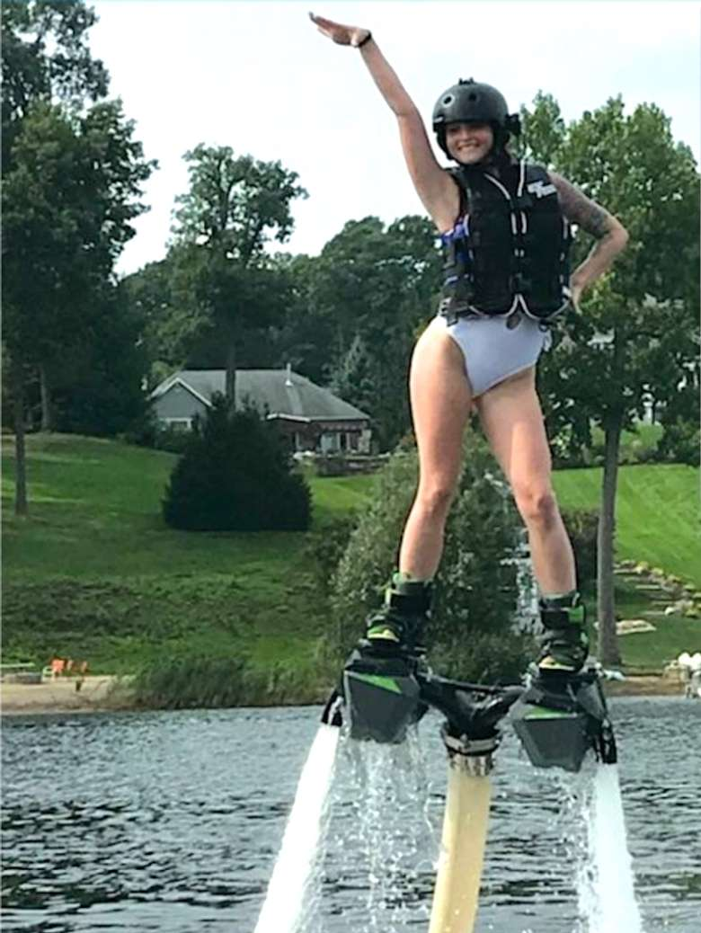girl posing in hydroflight