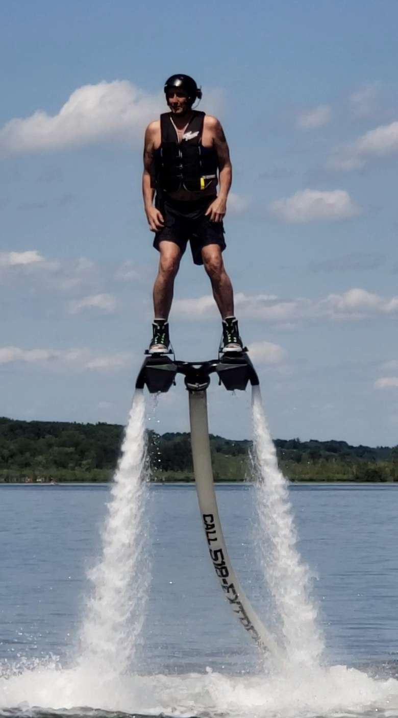 man in hydro flight