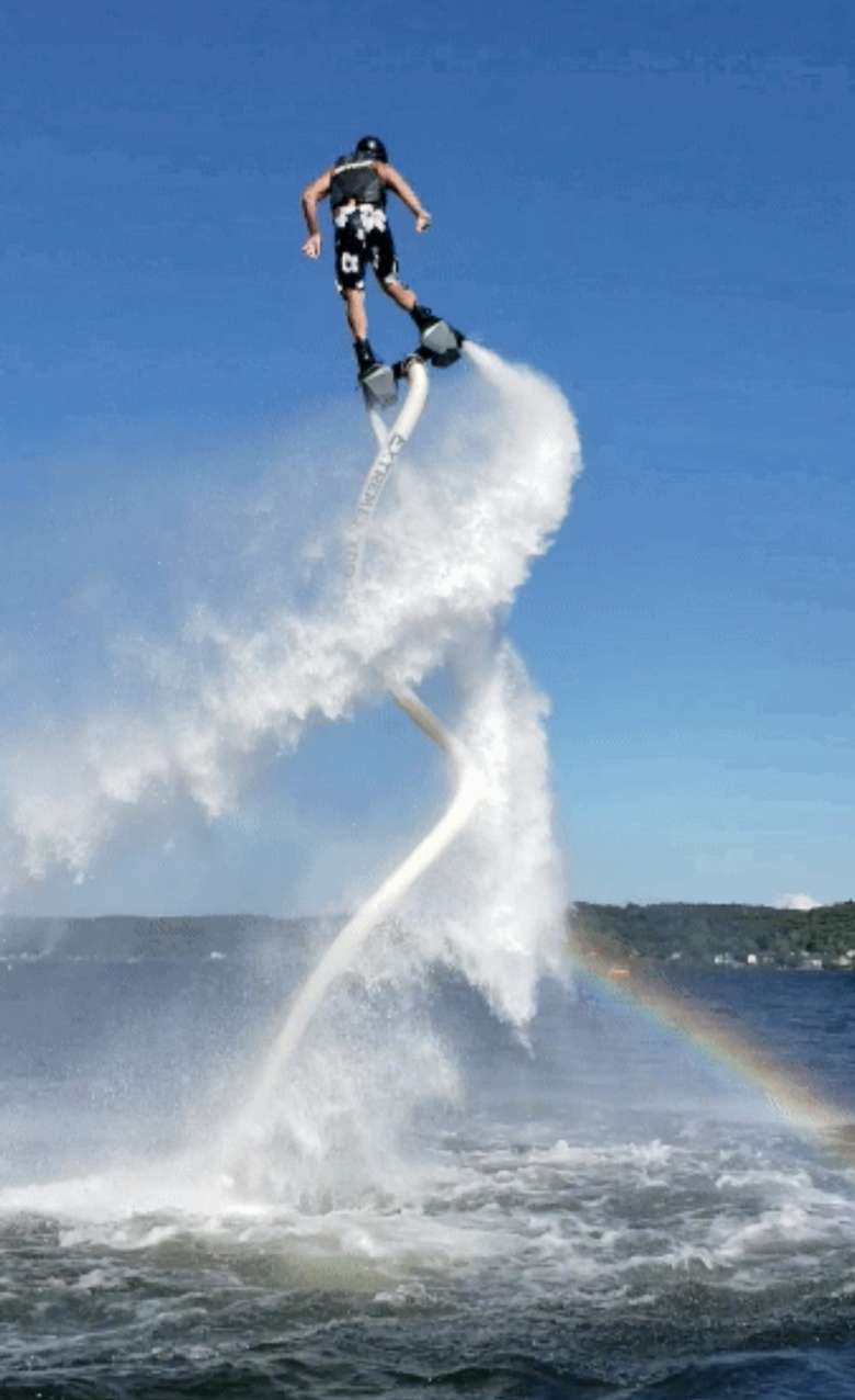 girl in hydro flight with water spiral underneath her