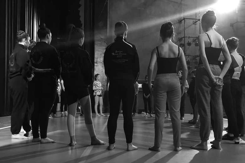 black and white photo of dancers