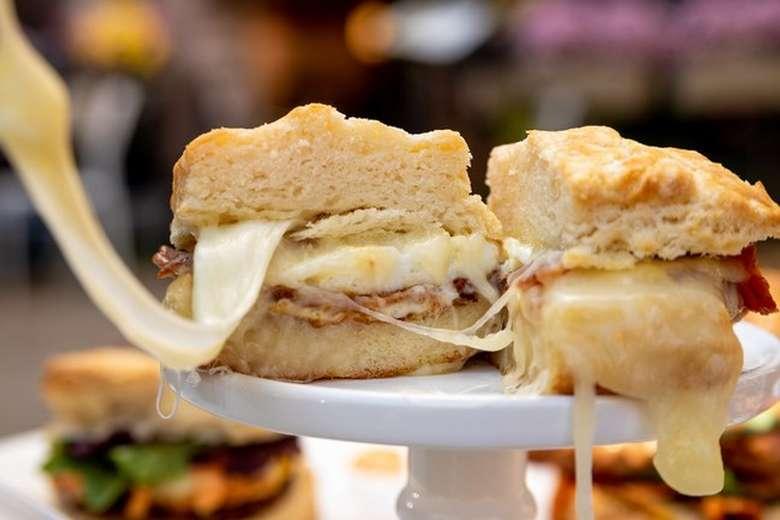 breakfast sandwich in halves