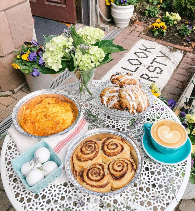 brunch items on a table outdoors