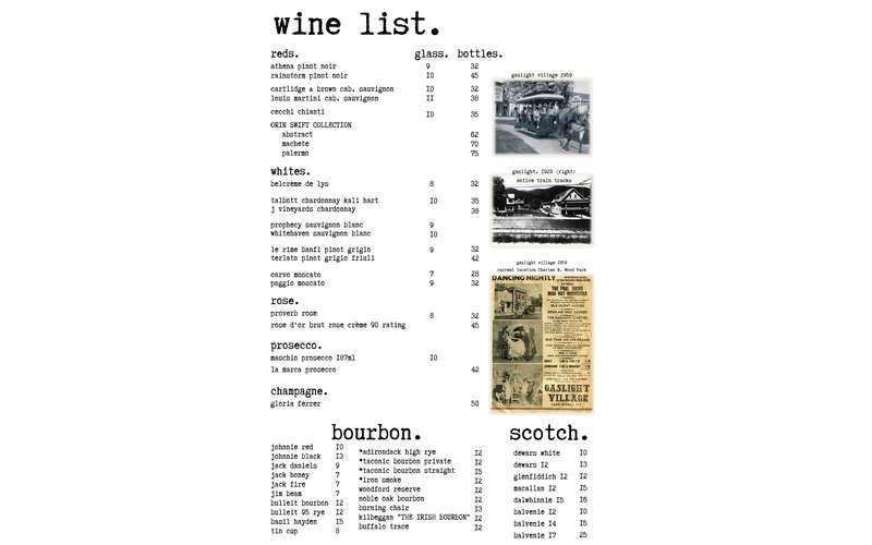 a wine list