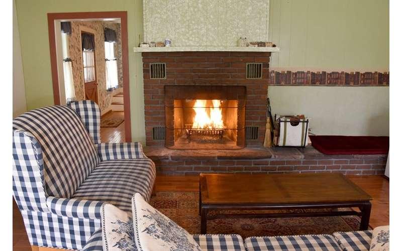 living room furniture near fireplace