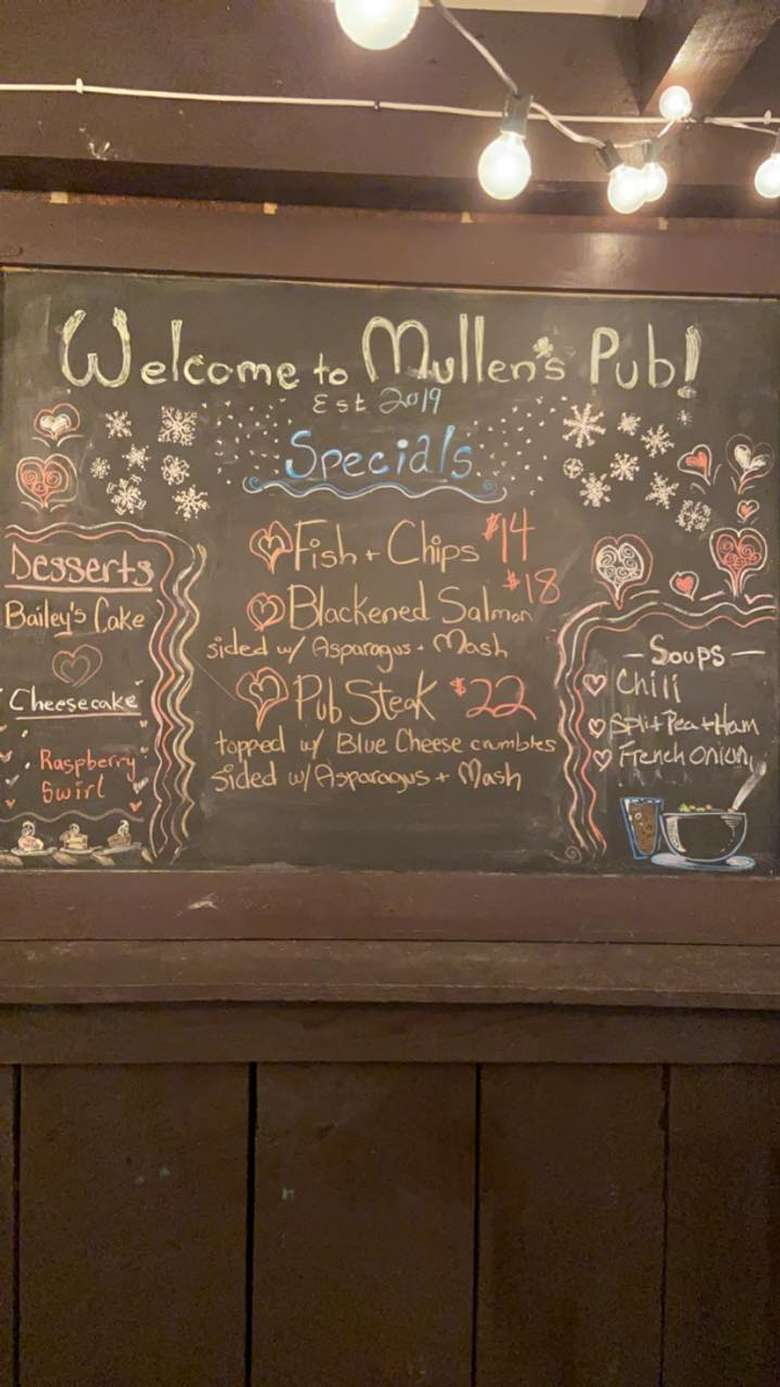 chalkboard sign in bar