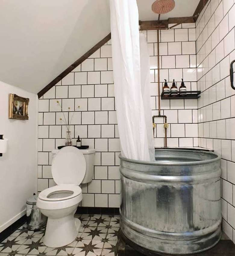 Two bathrooms, one upstairs and one downstairs.