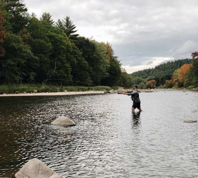 Fly fish in the adjacent Ausable River warners camp cabin rental pet friendly Adirondack getaway
