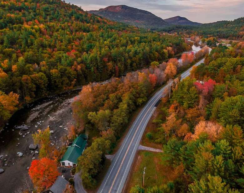 Riverside Adirondack Farmhouse warners camp cabin rental pet friendly Adirondack getaway fall