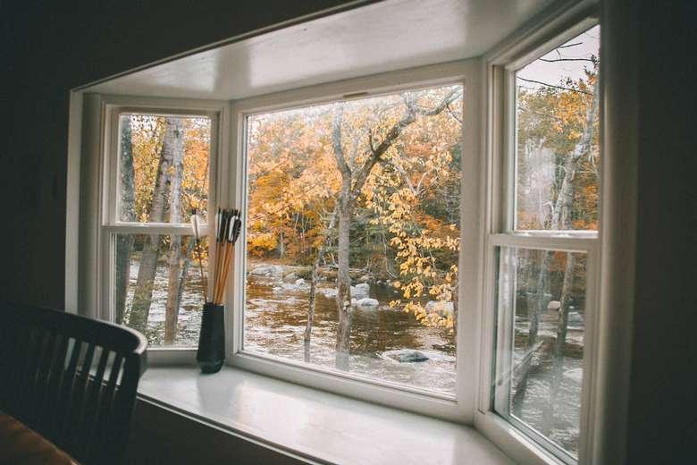 view of a river warner's camp adirondack cabin rental