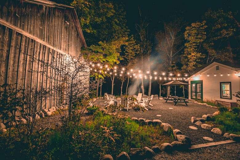 warners camp cabin rental pet friendly Adirondack getaway fire pit