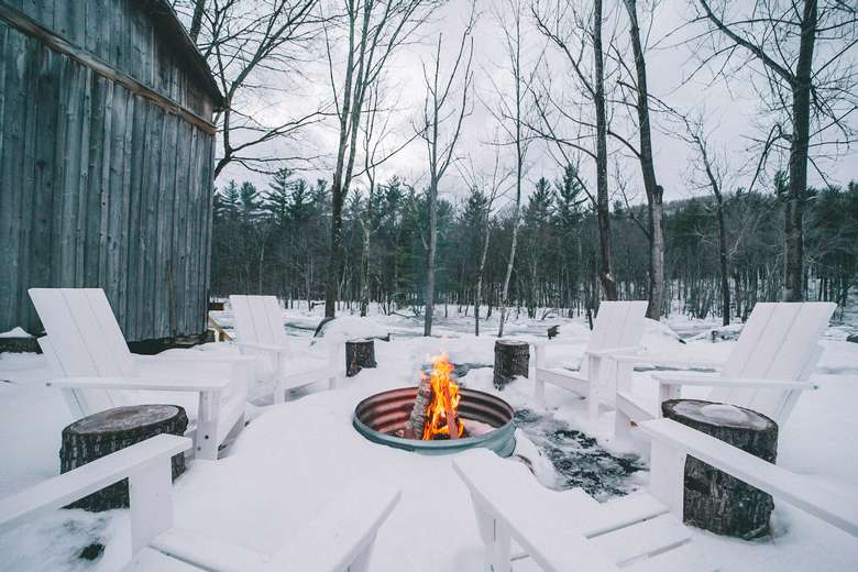 warners camp cabin whiteface mountain fire pit adirondacks