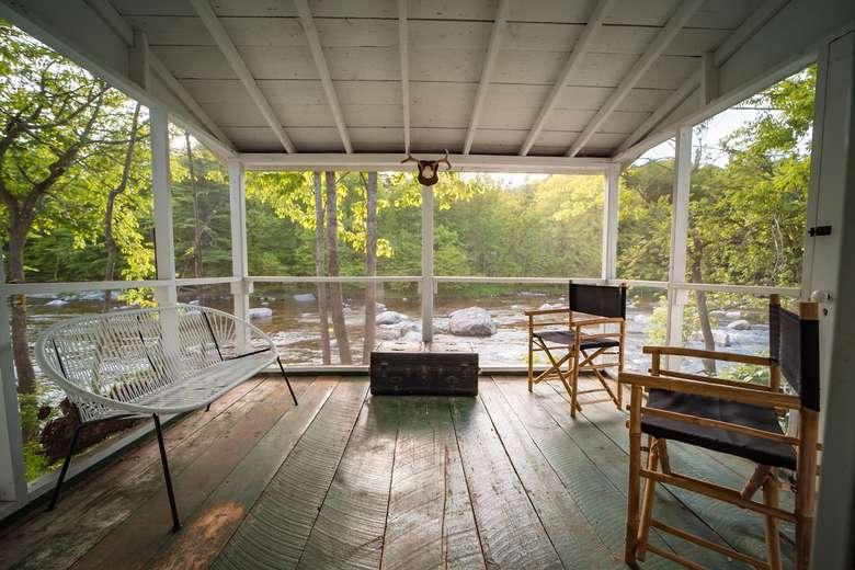 warners camp river view porch ausable lake placid adirondack cabin rental