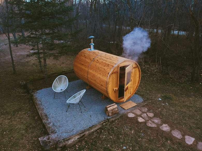 Barrel sauna at Warner's Camp Adirondack pet friendly cabin rental