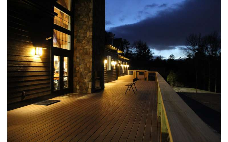 A night time view of our deck
