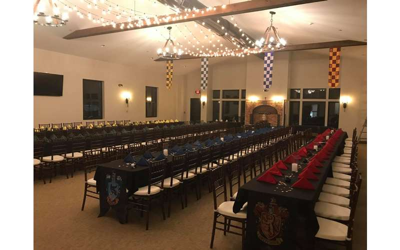 banquet space decorated for a Harry Potter-themed event.
