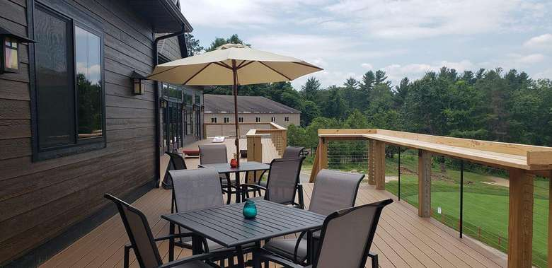 outdoor seating on deck