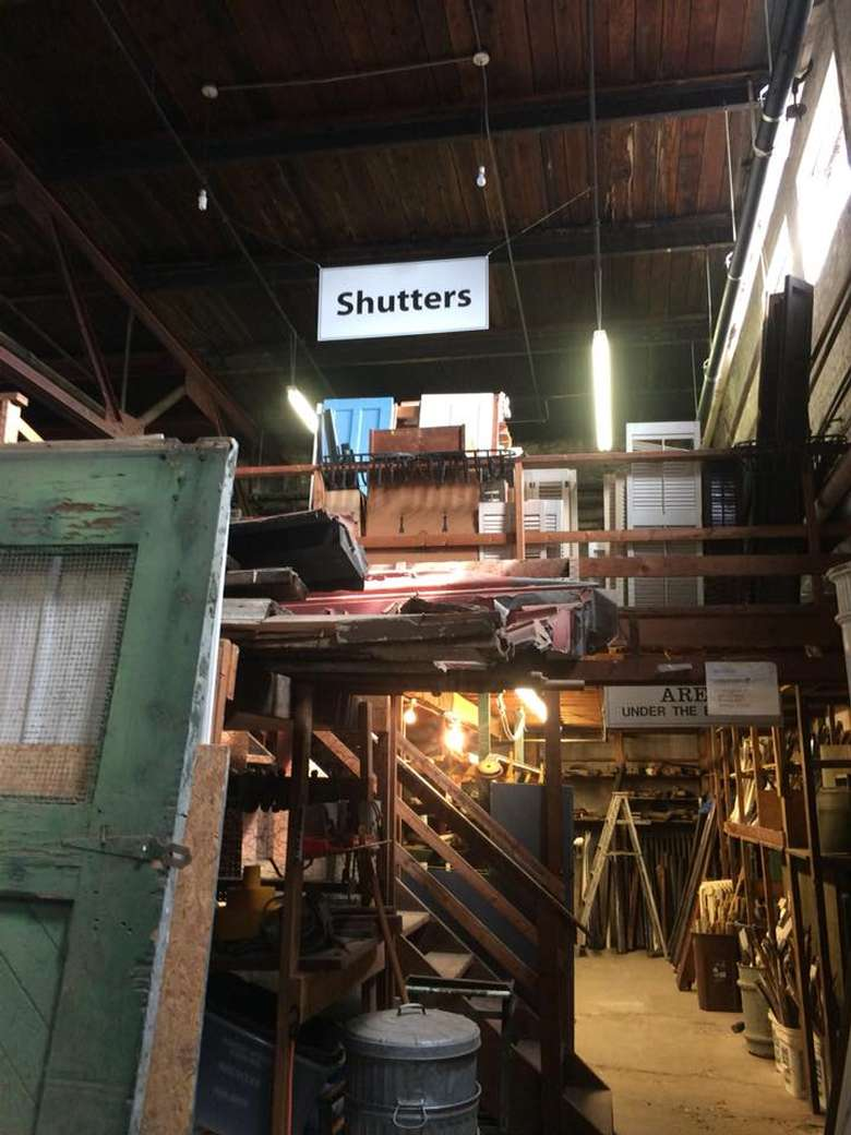shutters area in an architectural parts warehouse