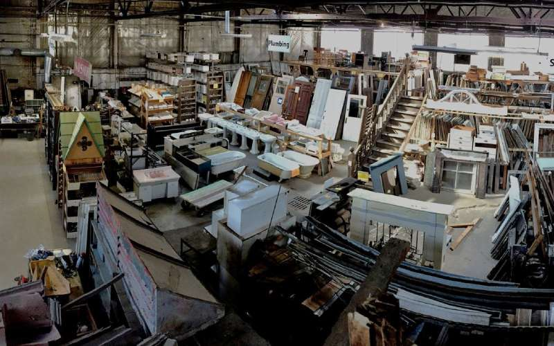overhead view of an architectural parts warehouse