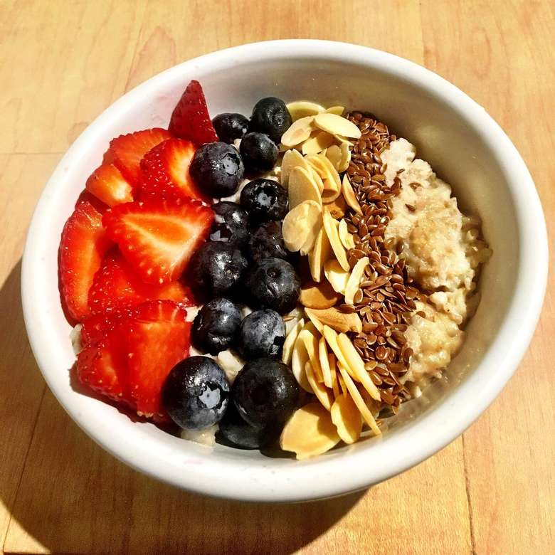 breakfast bowl with fruit and oatmeal