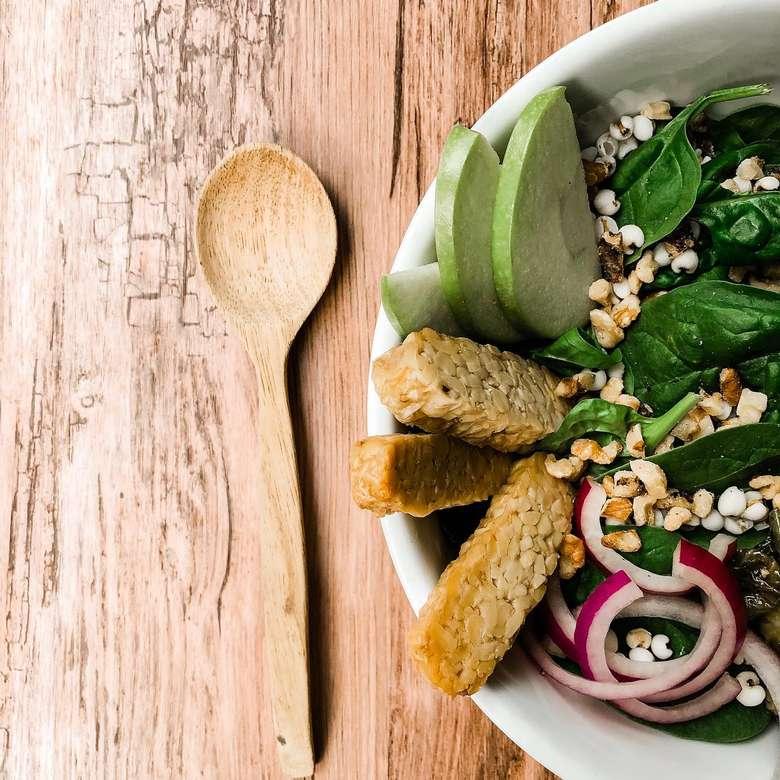 bowl with salad, avacado