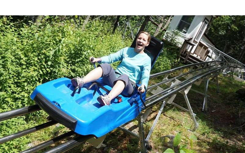 person on mountain coaster