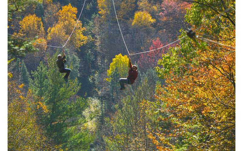 two people ziplining with a backdrop of fall foliage