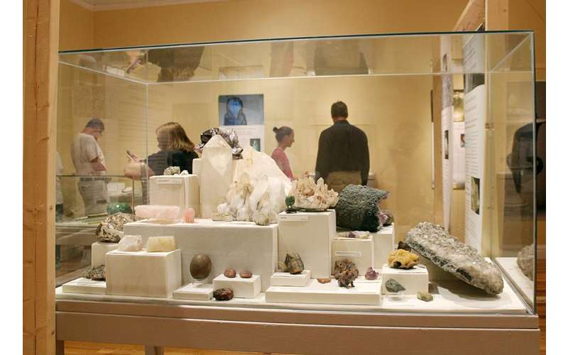 a rock and gem exhibit case
