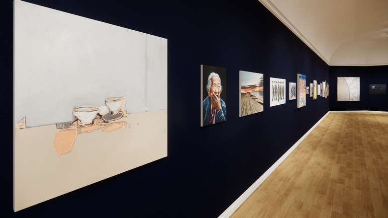 Paintings hang on the walls of the virtual version of the 2020 Art of the Hills exhibition.