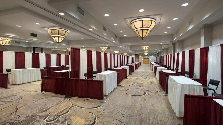 convention space with tables set up