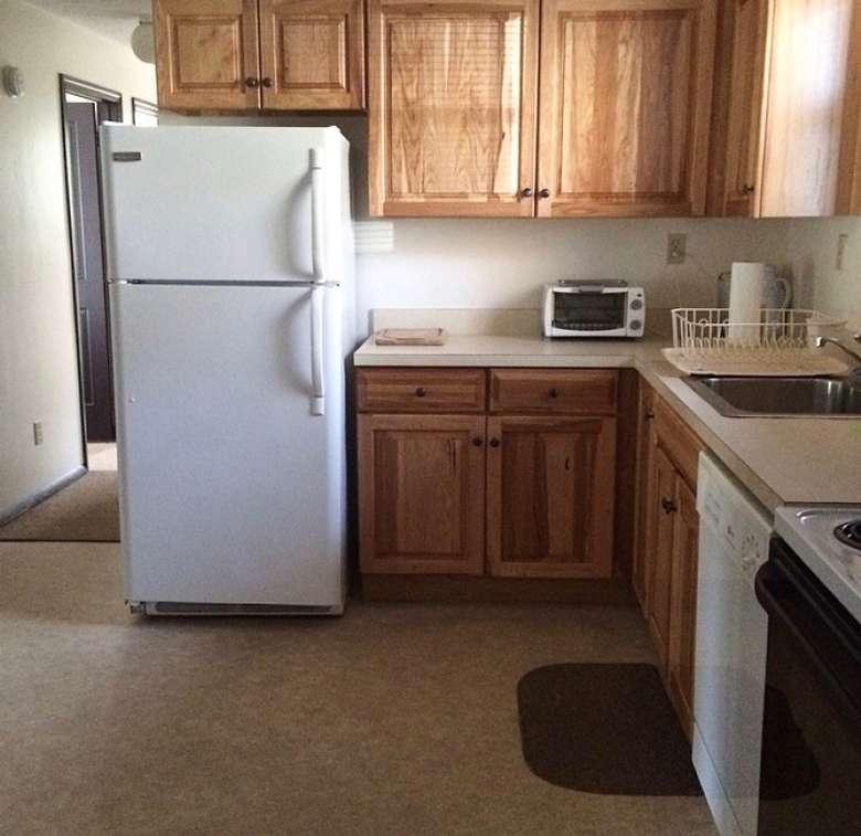 white fridge in a kitchen