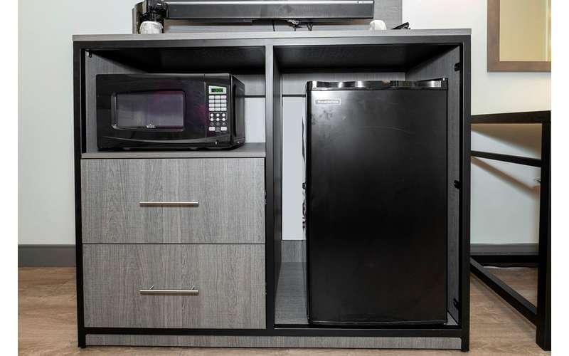 mini fridge and microwave