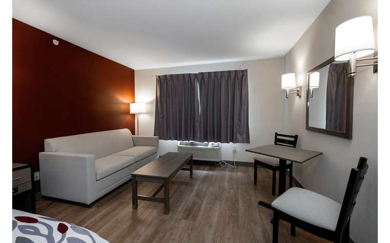 small lounge area in a hotel guest room