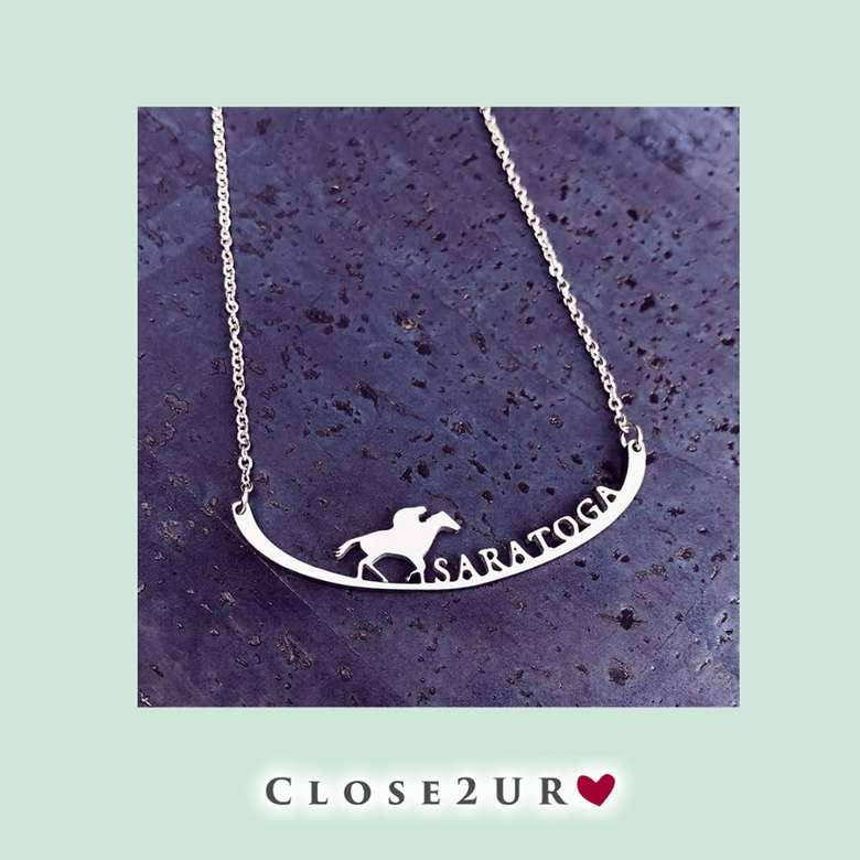 steel necklace with saratoga horse design