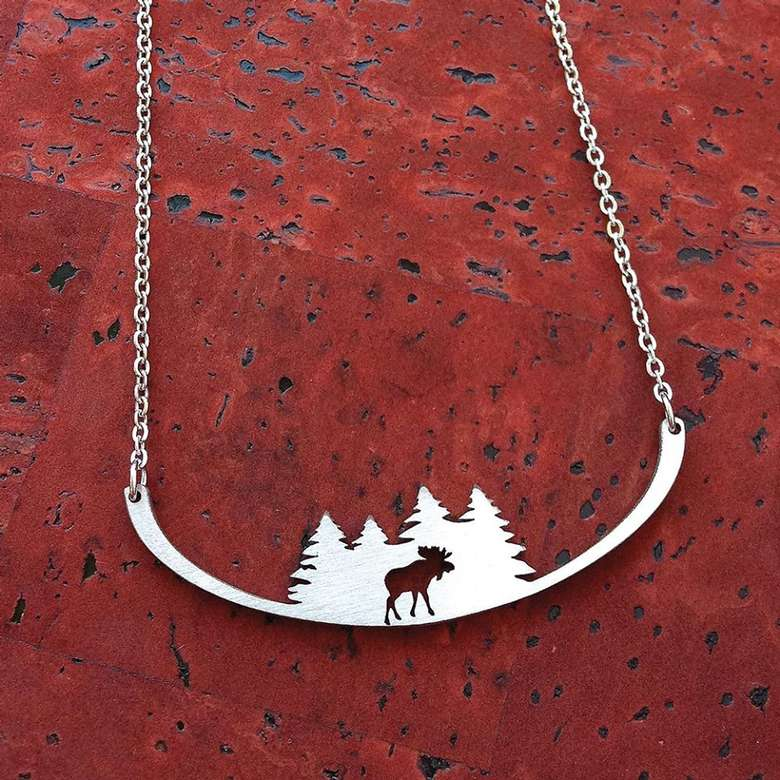 steel necklace with moose design