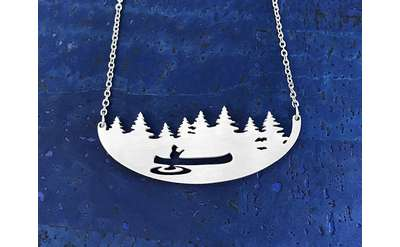 steel necklace with canoe design
