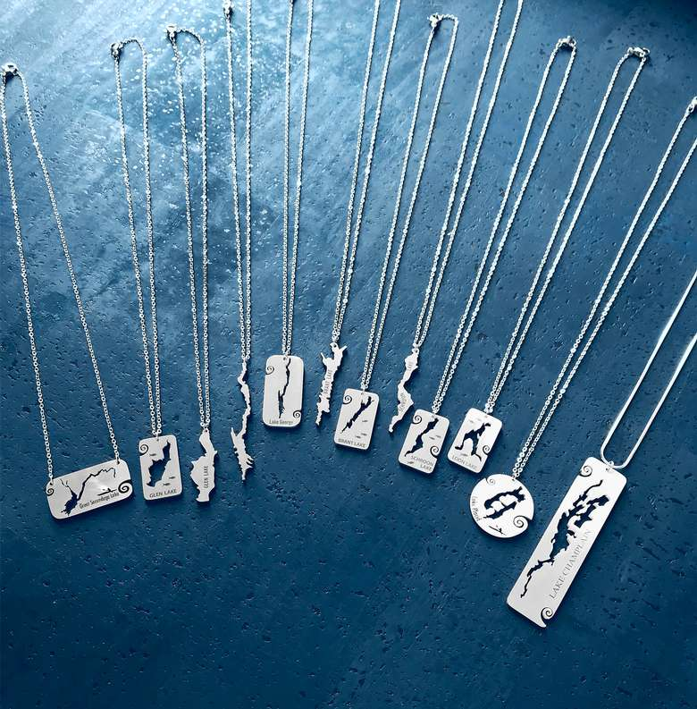 Handmade in the USA. Stainless steel necklaces of lakes in the Adirondacks.