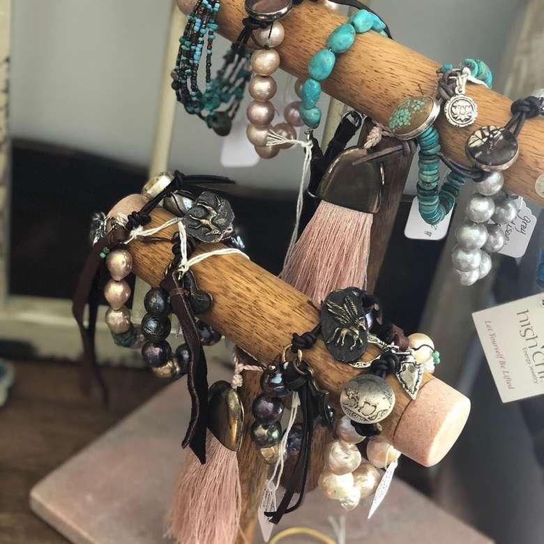 bracelets on a display holder