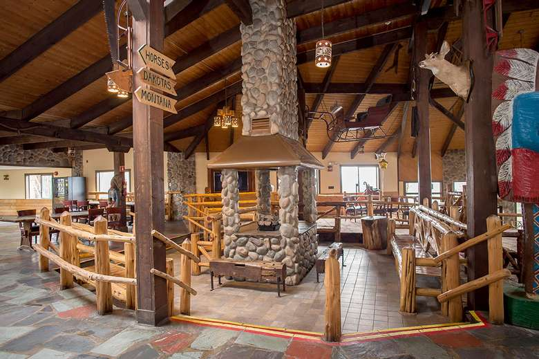 a large rustic lobby room at a dude ranch