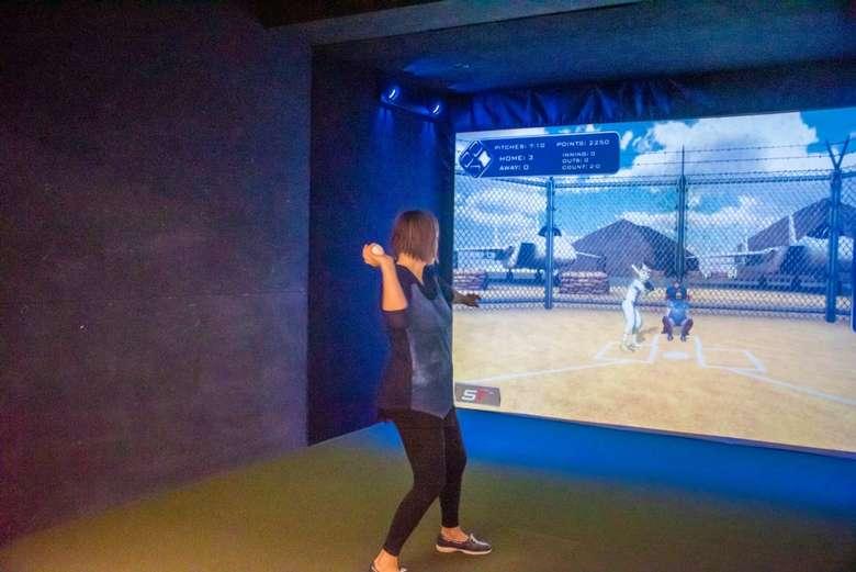 woman doing sports simulator
