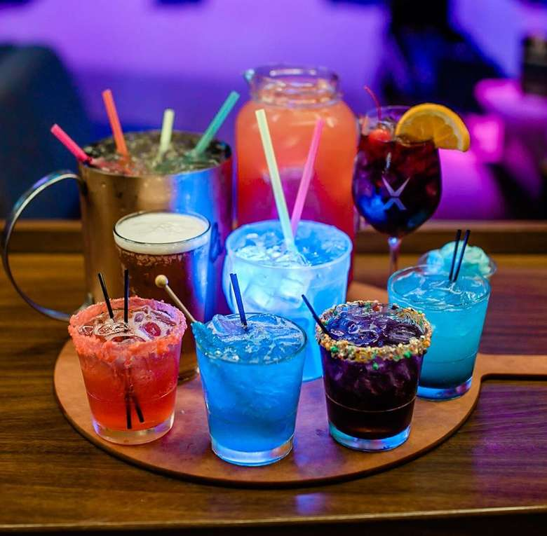 colorful drinks on a platter