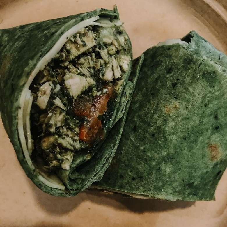 a green wrap cut in half