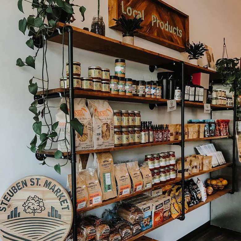 shelves with local food products on display