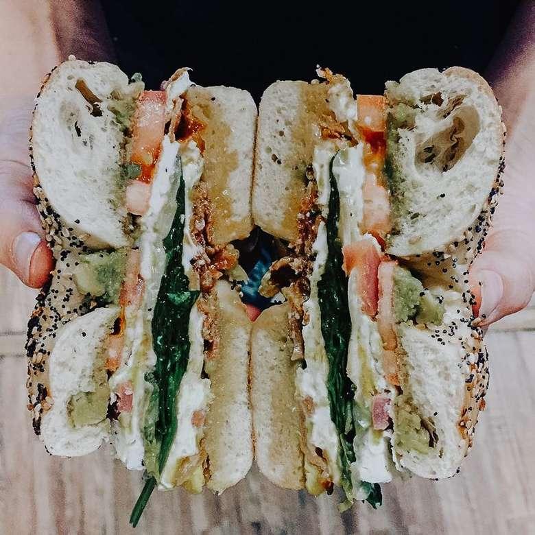 a bagel sandwich cut in half