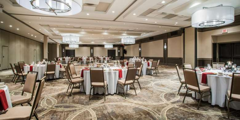 large ballroom with round tables