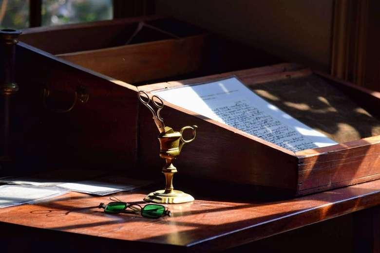antiques on desk
