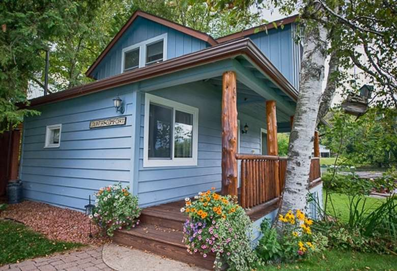 small blue cottage